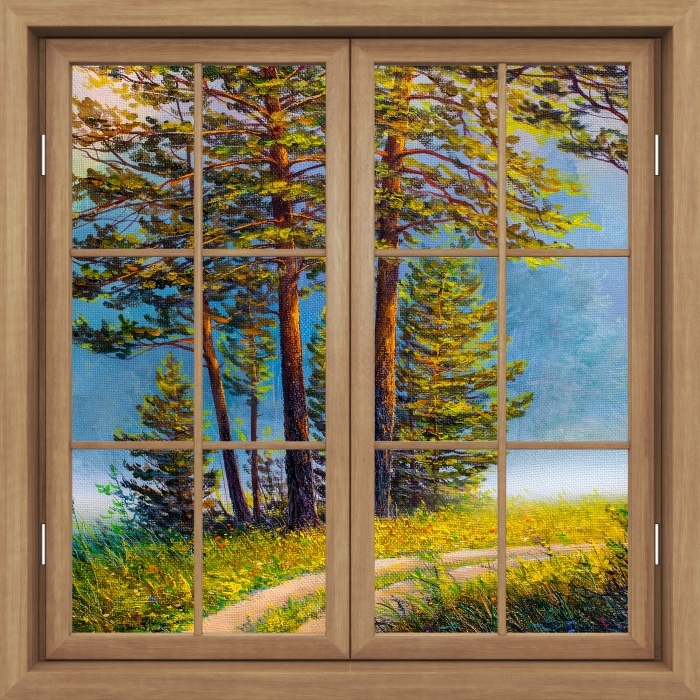 Brown window closed - Summer forest Vinyl Wall Mural - View through the window