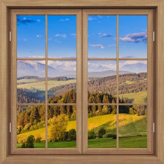 Papier peint vinyle Fenêtre Fermée Brown - Pieniny. Pologne. - La vue à travers la fenêtre
