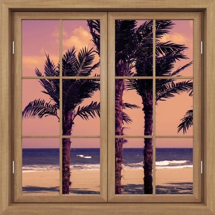 Vinyl-Fototapete Brown Fenster geschlossen - Palma - Blick durch das Fenster