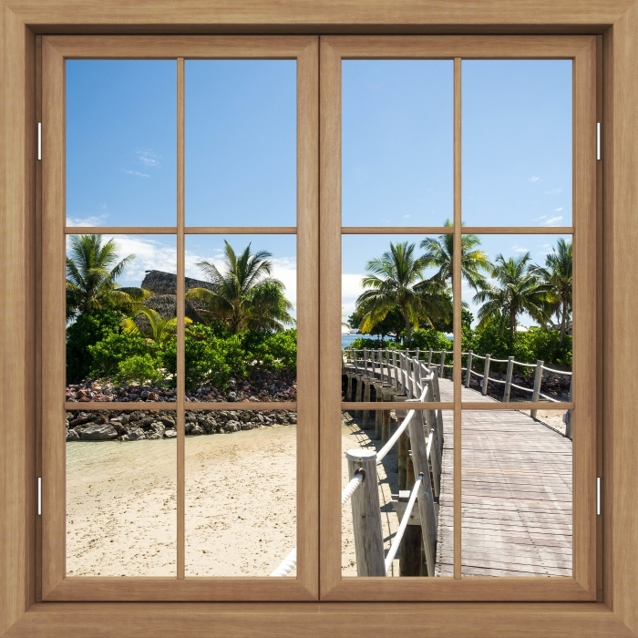 Fototapeta winylowa Okno brązowe zamknięte - Wzdłuż mostu - Widok przez okno