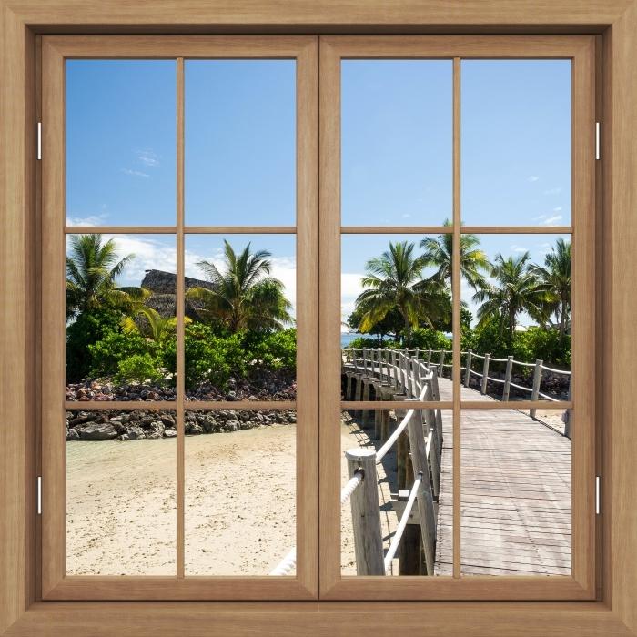 Papier peint vinyle Brown A Fermé La Fenêtre - Le Long Du Pont - La vue à travers la fenêtre