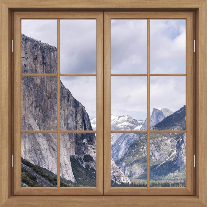 Fototapeta winylowa Okno brązowe zamknięte - Park Narodowy Yosemite - Widok przez okno