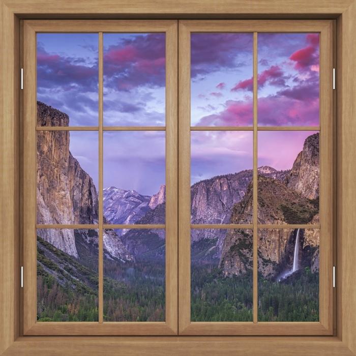 Vinyl-Fototapete Brown Fenster geschlossen - Yosemite Nationalpark - Blick durch das Fenster