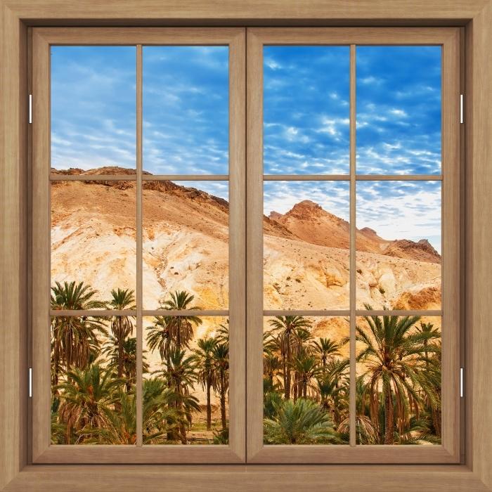 Fototapeta winylowa Okno brązowe zamknięte - Górskie oazy - Widok przez okno