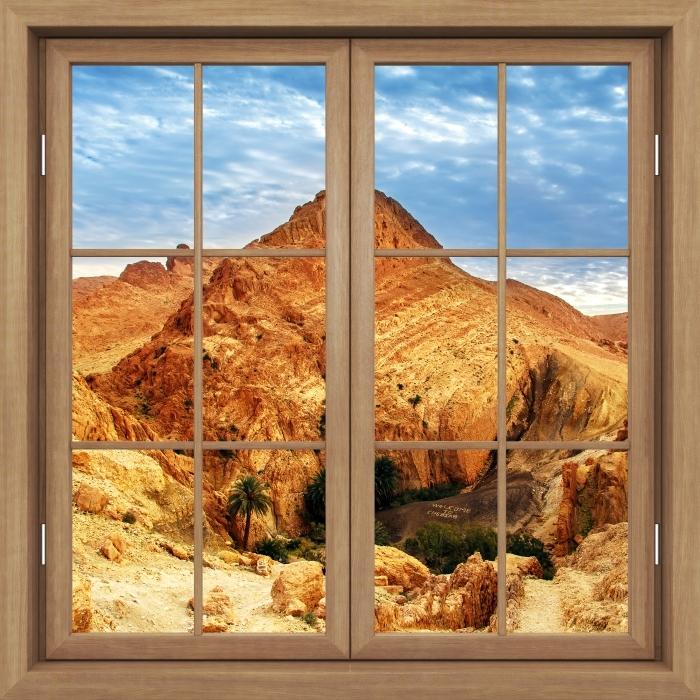 Vinyl-Fototapete Brown Fenster geschlossen - Bergoase - Blick durch das Fenster