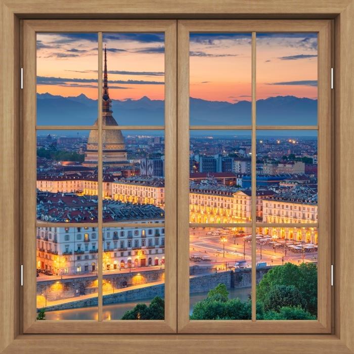 Papier peint vinyle Fenêtre Brown Fermé - Turin. Coucher Du Soleil. - La vue à travers la fenêtre