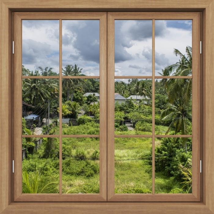 Fototapeta winylowa Okno brązowe zamknięte - Pole ryżowe - Widok przez okno