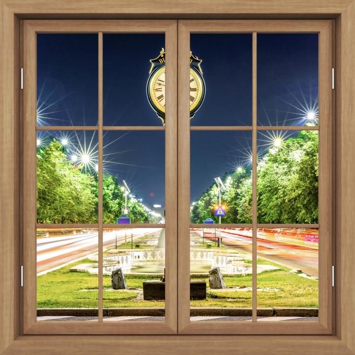 Fototapeta winylowa Okno brązowe zamknięte - Bukareszt. Rumunia. - Widok przez okno