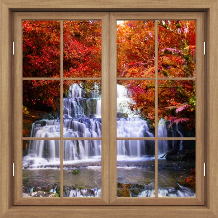 Brown window closed - Waterfall in the jungle. New Zealand Vinyl Wall Mural - View through the window