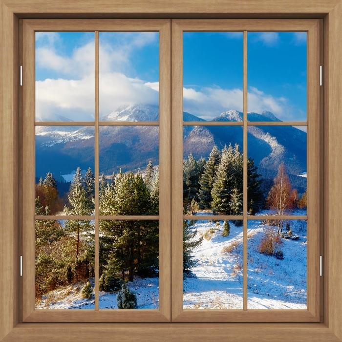 Fototapeta winylowa Okno brązowe zamknięte - Śnieżny krajobraz - Widok przez okno