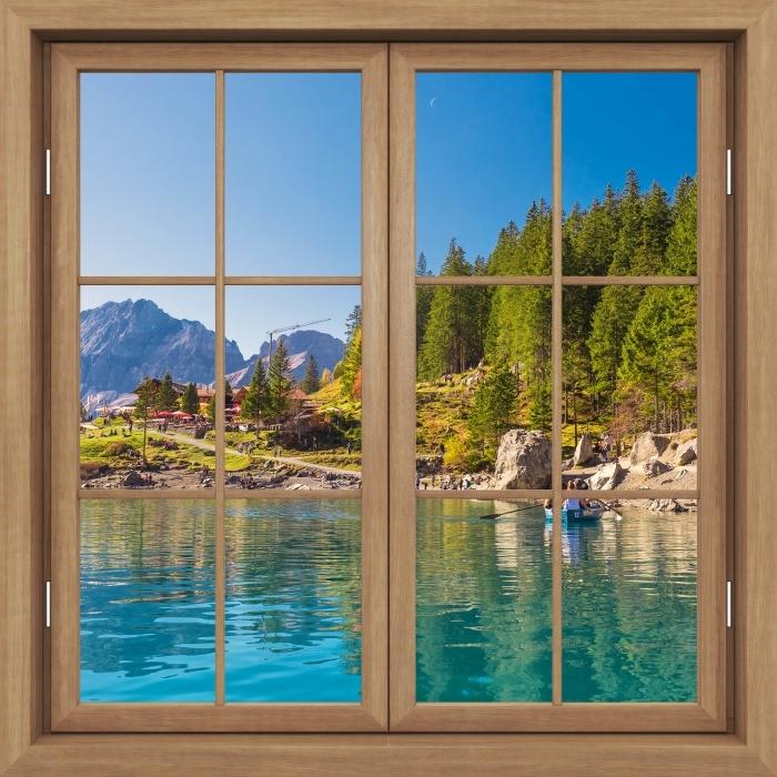 Fototapeta winylowa Okno brązowe zamknięte - Błękitne jezioro. Szwajcaria. - Widok przez okno