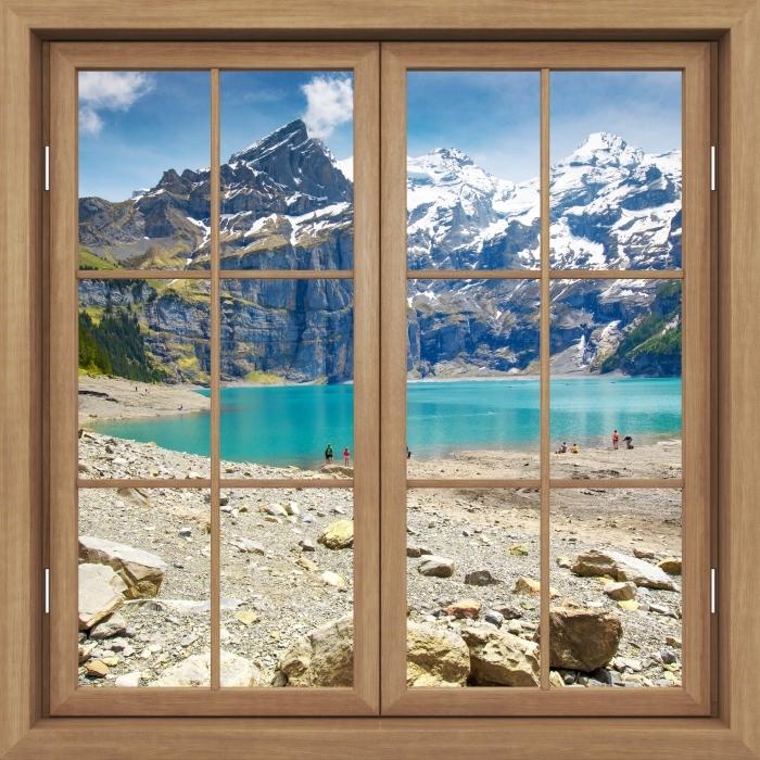 Fototapeta winylowa Okno brązowe zamknięte - Jezioro. Szwajcaria - Widok przez okno