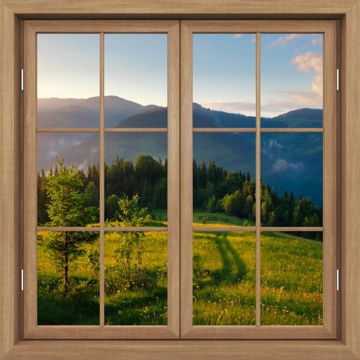 Vinyl-Fototapete Brown Fenster geschlossen - Mountain Valley - Blick durch das Fenster
