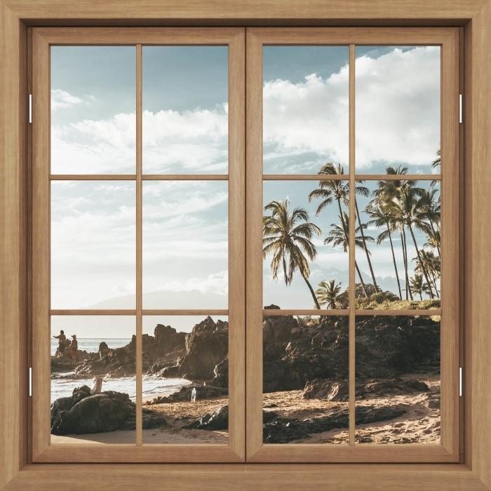 Fototapeta winylowa Okno brązowe zamknięte - Palmy. Hawaje. - Widok przez okno