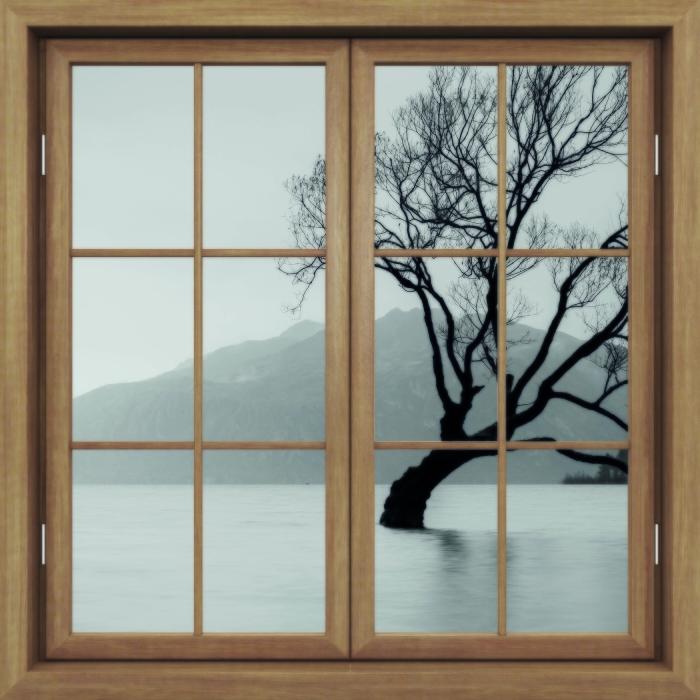 Fototapeta winylowa Okno brązowe zamknięte - Krajobraz. Nowa Zelandia - Widok przez okno