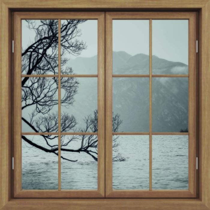 Papier peint vinyle Fenêtre Brown Fermé - Paysage. Nouvelle-Zélande - La vue à travers la fenêtre