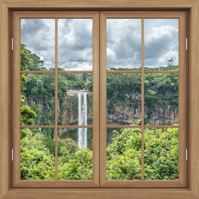 Vinyl-Fototapete Brown Fenster geschlossen - Wasserfall - Blick durch das Fenster
