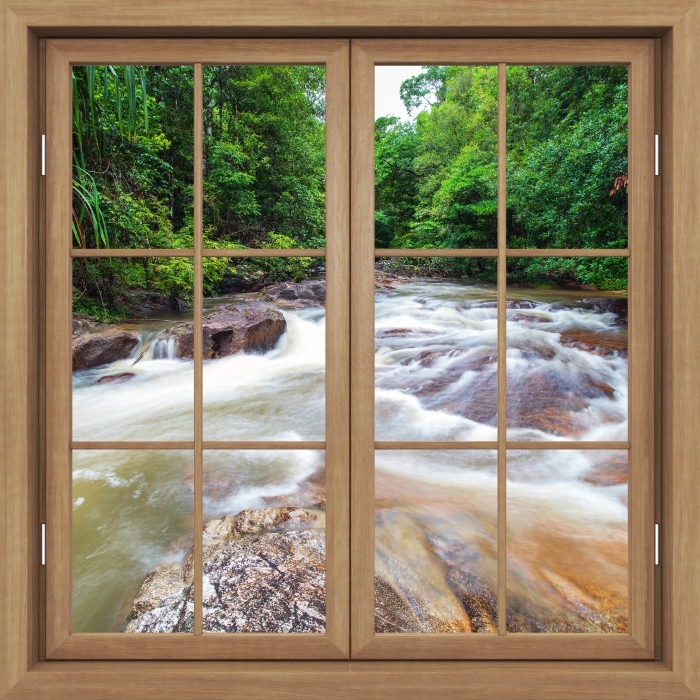 Brown window closed - Waterfall in the forest Vinyl Wall Mural - View through the window