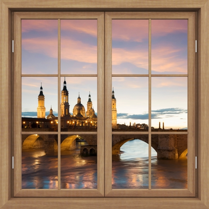 Brown closed the window - Cathedral. Spain. Vinyl Wall Mural - View through the window