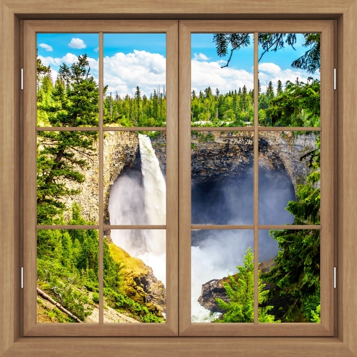 Vinyl Fotobehang Brown raam gesloten - Mountains. Canada. - Uitzicht door het raam