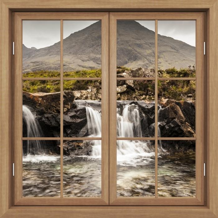 Papier peint vinyle Fenêtre Fermée Brown - Piscines De Fées - La vue à travers la fenêtre