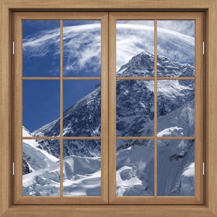 Fototapeta winylowa Okno brązowe zamknięte - Mount Everest - Widok przez okno