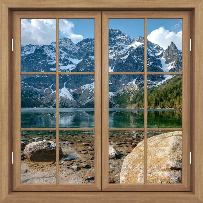 Papier peint vinyle Fenêtre Fermée Brown - Sea Eye. Montagnes Tatra. Pologne. - La vue à travers la fenêtre