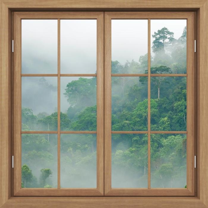 Fototapeta winylowa Okno brązowe zamknięte - Lasy deszczowe - Widok przez okno