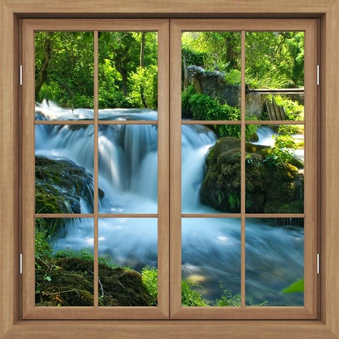 Carta da Parati in Vinile Finestra marrone chiusa - Cascata - Vista attraverso la finestra