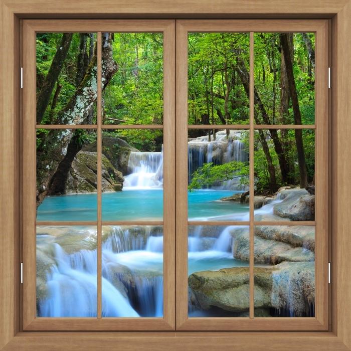 Brown window closed - Erawan Waterfall. Thailand Vinyl Wall Mural - View through the window