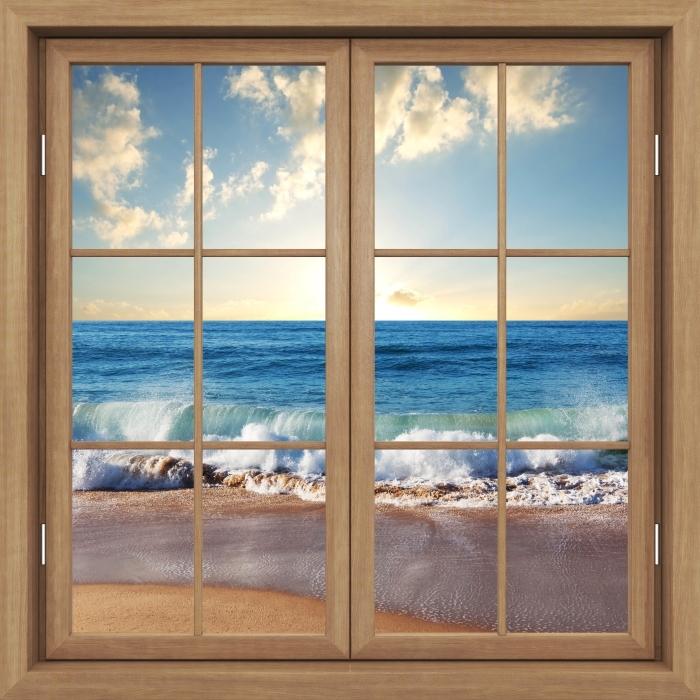 Fototapeta winylowa Okno brązowe zamknięte - Morze. Zachód słońca. - Widok przez okno