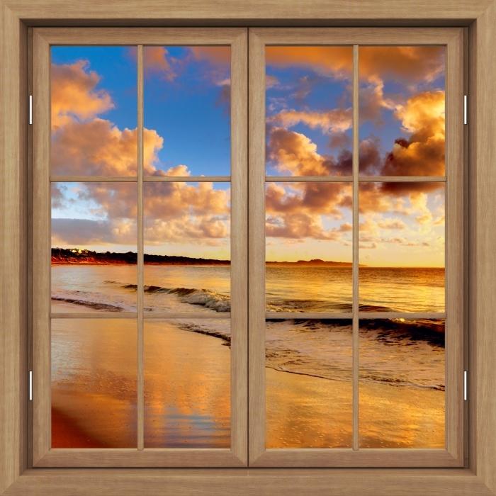 Fototapeta winylowa Okno brązowe zamknięte - Zachód słońca na plaży - Widok przez okno