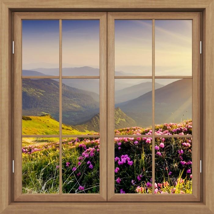 Carta da Parati in Vinile Finestra marrone chiuso - Paesaggio di montagna - Vista attraverso la finestra