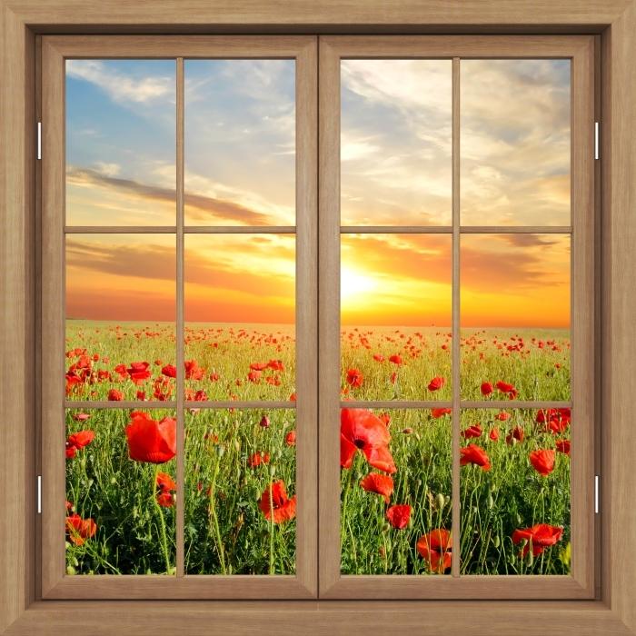 Vinyl Fotobehang Brown raam gesloten - Veld met klaprozen - Uitzicht door het raam