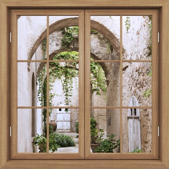 Fototapeta samoprzylepna Okno brązowe zamknięte - Arkada - Widok przez okno