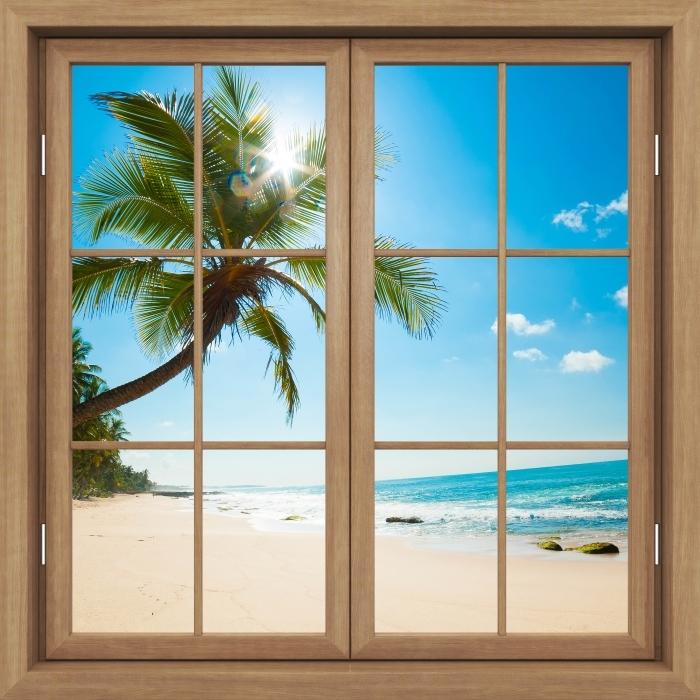 Fototapeta winylowa Okno brązowe zamknięte - Tropikalna plaża - Widok przez okno