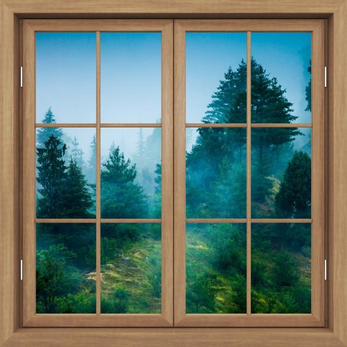 Carta da Parati in Vinile Finestra marrone chiusa - Nebbia - Vista attraverso la finestra