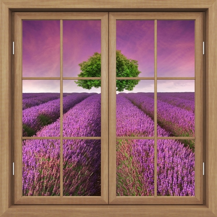 Fototapeta winylowa Okno brązowe zamknięte - Letni krajobraz - Widok przez okno