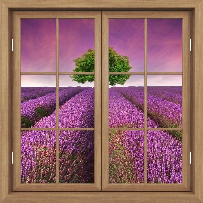 Papier peint vinyle Fenêtre Brown Fermé - Paysage D'Été - La vue à travers la fenêtre