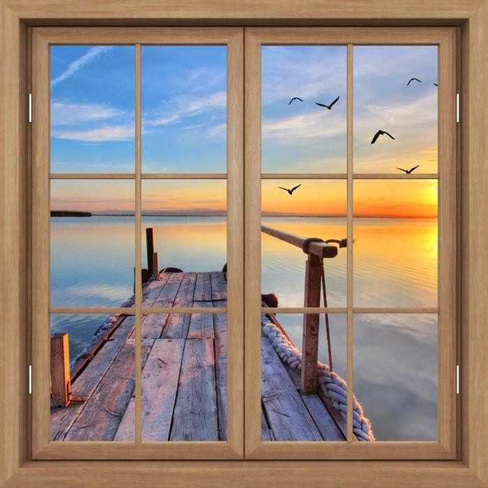 Vinyl-Fototapete Brown Fenster geschlossen - See - Blick durch das Fenster