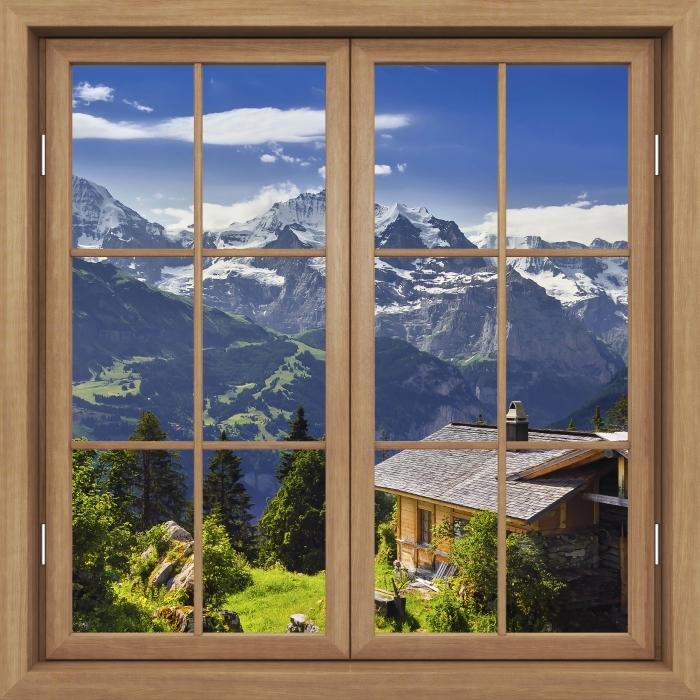 Papier peint vinyle Fenêtre Fermée Brown - Montagne - La vue à travers la fenêtre