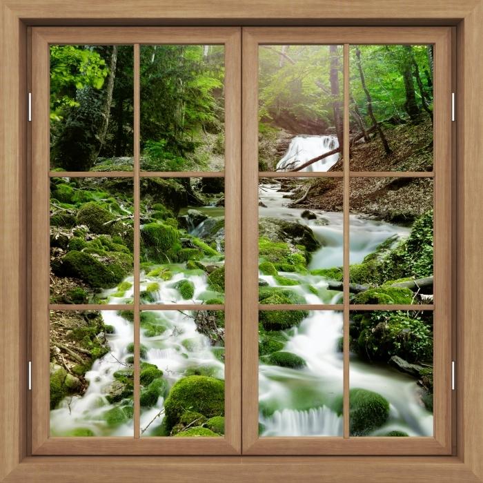 Fototapeta winylowa Okno brązowe zamknięte - Las i wodospad - Widok przez okno