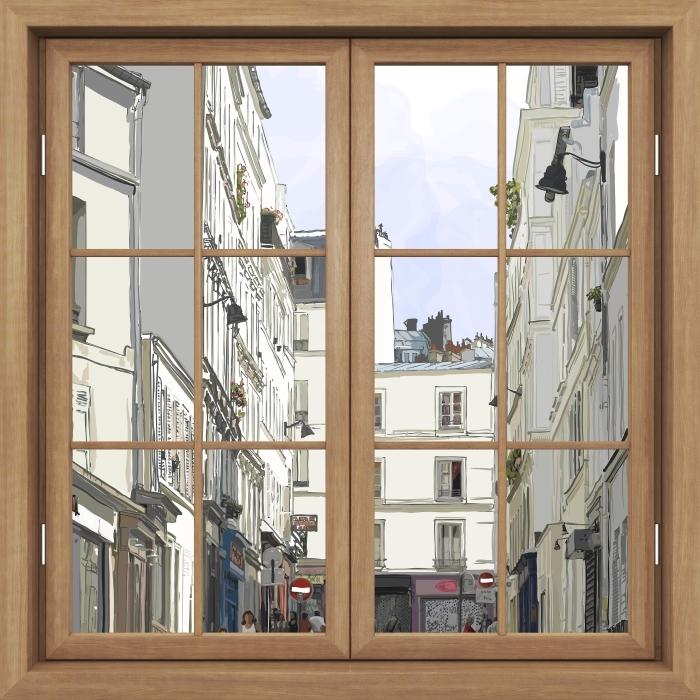 Fototapeta winylowa Okno brązowe zamknięte - Paryż - Widok przez okno