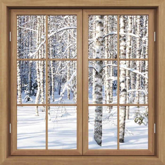 Fototapeta winylowa Okno brązowe zamknięte - Śnieżne brzozy - Widok przez okno