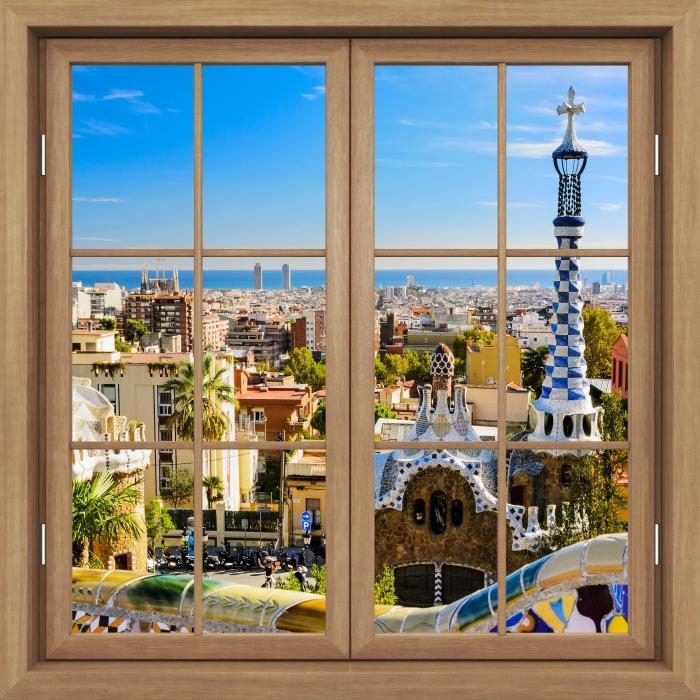 Papier peint vinyle Brown Fenêtre Fermé - Parc Guell À Barcelone. Espagne. - La vue à travers la fenêtre
