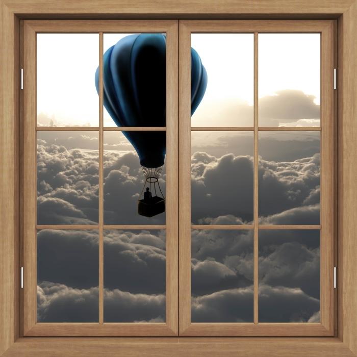 Vinyl Fotobehang Brown raam gesloten - Ballon in de hemel - Uitzicht door het raam