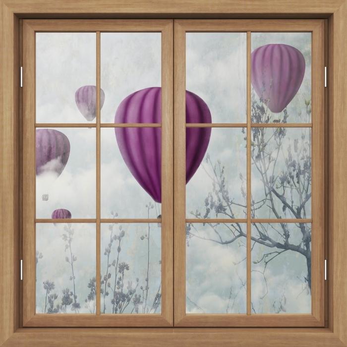 Fototapeta winylowa Okno brązowe zamknięte - Balony na niebie - Widok przez okno