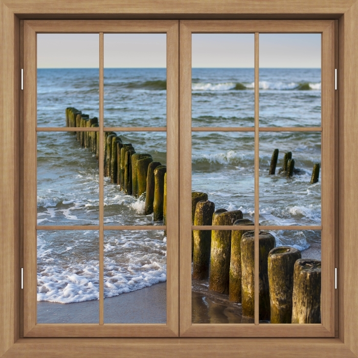 Brown window closed - Sunset on the Baltic Sea Vinyl Wall Mural - View through the window