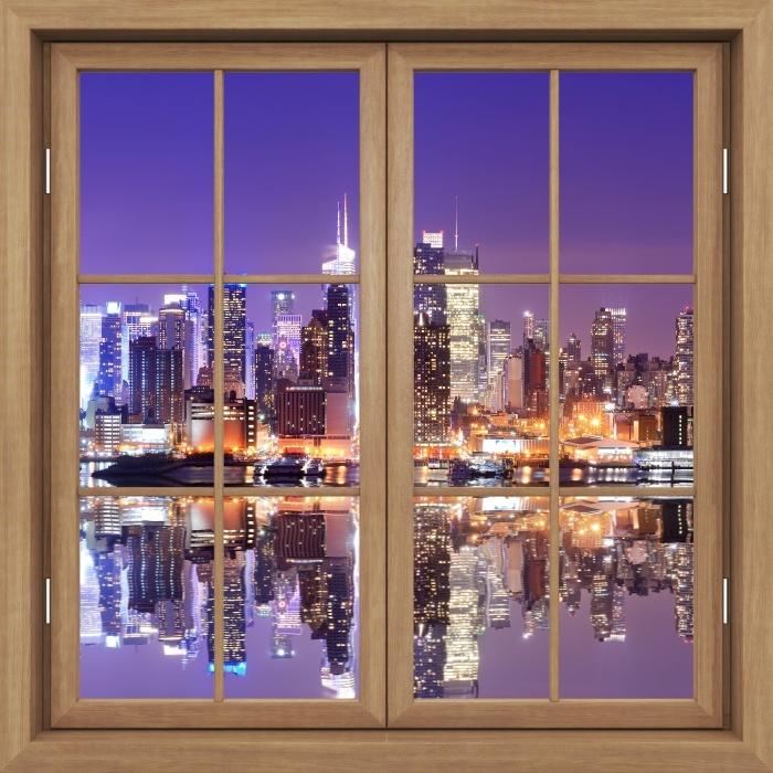 Fototapeta winylowa Okno brązowe zamknięte - Manhattan - Widok przez okno