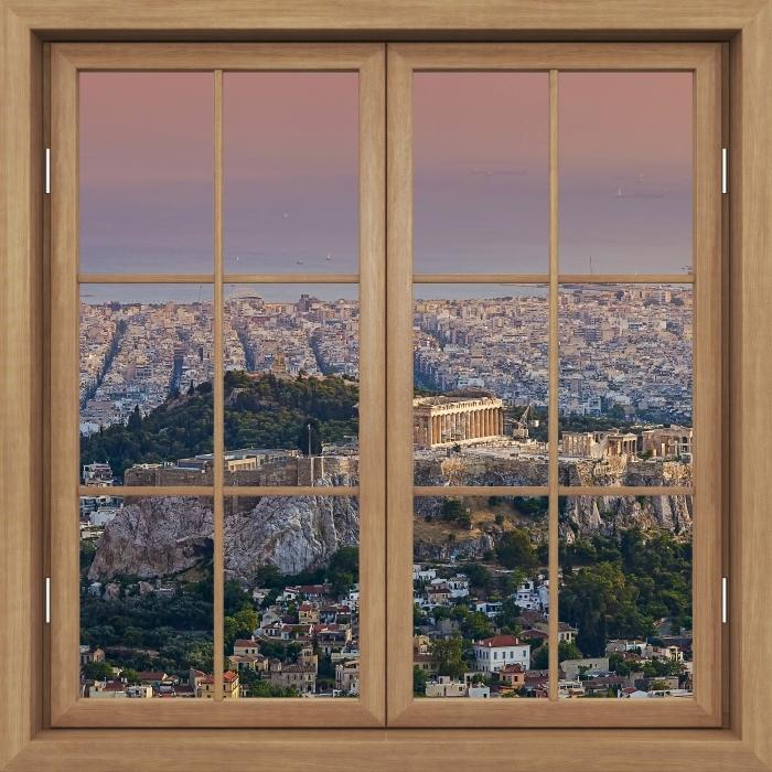 Fototapeta winylowa Okno brązowe zamknięte - Partenon. Grecja - Widok przez okno